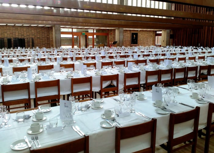 The largest dining hall in Cambridge, this flexible space is a blank canvas which can be used for traditional college dining seating up to 450 guests, themed events with sets and staging or dining with dancing for up to 450 guests. This room is available for exclusive use from 19:30.
