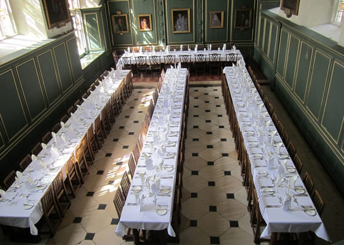 The 16th Century College Hall located in First Court, was originally the monastic refectory. It seats up to 110 people for dining, has a small gallery and is beautifully decorated with the heraldic arms of Queen Anne. The Hall has a special atmosphere particularly as dining in the evening is by candlelight.