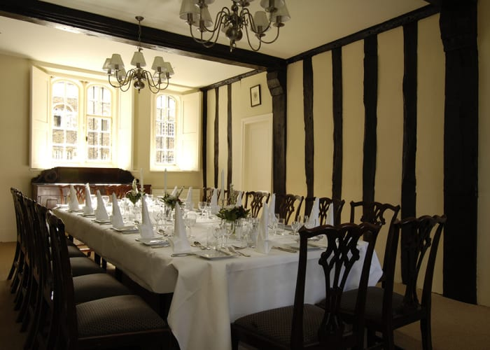 As a venue for fine dining or a formal dinner, the Alcock Room offers up to 16 guests a setting that combines attentive service and a superb wine cellar with a unique ambience.  In the time of St. Radegund's nunnery at the end of the 15th century, it was the 'aulo' or hall for the lodging of the nuns' guests. Today, it is a beautifully presented oak-beamed room, with plenty of natural daylight and some lovely pieces of antique furniture.