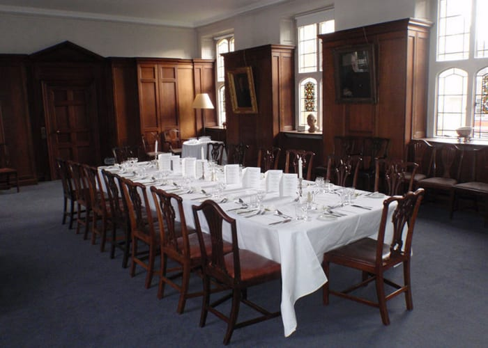 The Old Library is no longer lined with bookshelves, but the wooden panelling and stained glass windows retain a historic feel. It now provides an intimate environment for meetings, receptions and dinners, in the heart of the College, with views over Chapel Court.