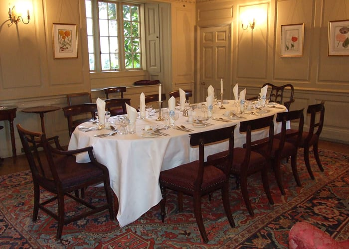 The Old Parlour can be used as an overflow for the College Hall, or on its own an intimate dining space.