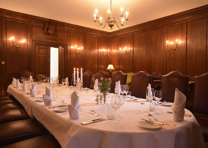 Located on the first floor, the historic Chetwode Room provides an attractive and memorable setting for dinners for up to 16 guests. The wood-panelled walls, decorative features and large mahogany dining table create an atmospheric and intimate setting. There is also a comfortable seating area which works perfectly for pre-dinner drinks.