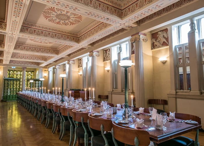 The Fellows' Dining Room is located in the Old Courts, our historic and traditional site in the heart of the city centre. The room can seat up to 44 people for formal dining. The Lord Colyton Hall, located adjacent to the Fellows' Dining Room, would provide an excellent venue for pre-dinner drinks. Please note the Lord Colyton Hall is only available from 19:30.