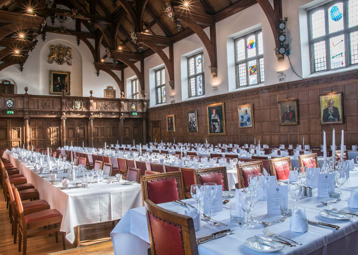 The Main Hall is located in the Old Courts, our historic and traditional site in the heart of the city centre, and can seat up to 184 people for formal dining.