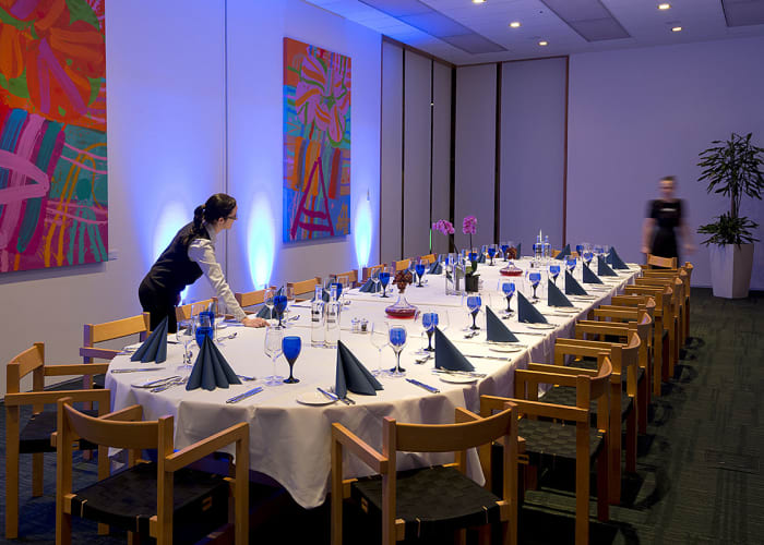 All food is cooked on the premises by our team of internationally trained chefs, led by our Executive Chef. We use seasonal, sustainable and locally-sourced produce in our dishes.  We can tailor dining options to suit your event's needs; whether it be a buffet-style lunch in the Restaurant, an evening canapé reception with stunning views across Cambridge in our Tower Lounge Bar, or an intimate, private dinner, held in Study Centre Suite 3.  Our experienced team of chefs offer an extensive range of international cuisine, and are able to cater for all dietary requirements. If fine dining is desired, our Executive Chef would be delighted to design a bespoke menu of your choice.  The Møller Centre prides itself on the quality and variety of its cuisine, serving an assortment of lunch and dinner options in the restaurant everyday.