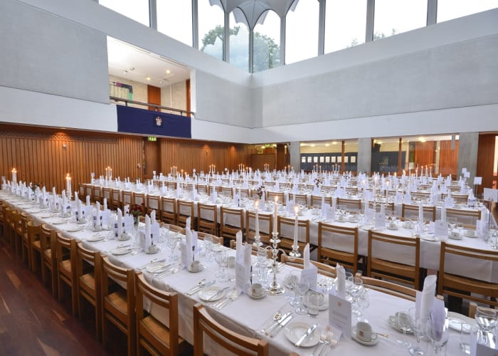 Our striking College Hall was designed by Sir Denys Lasdun, is panelled in Columbian Pine, has solid ash chairs and oak stained tables. It is a splendid venue for larger formal occasions, such as gala dinners & Christmas parties.