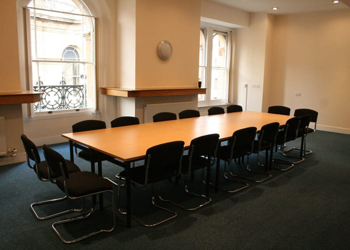 The King's Room is suited for syndicate meetings, breakout sessions, training sessions and presentations for between 6-40 guests.  The room is equipped with a state of the art SMART board allowing you to link your laptop to a whiteboard for presentations. The room is situated directly above the main entrance of the Corn Exchange and overlooks the foyer.  Please note: This space is upstairs and cannot be accessed by wheelchair users and can only be booked in conjunction with bookings of the auditorium.