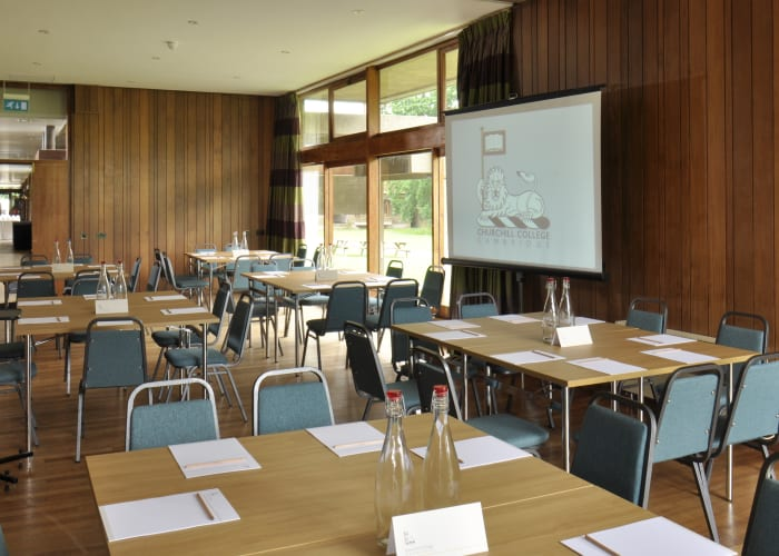 A recently refurbished ground-floor room situated at the end of the main Concourse, notable for its large windows looking out across the playing fields. This room is available during the University's vacation periods.