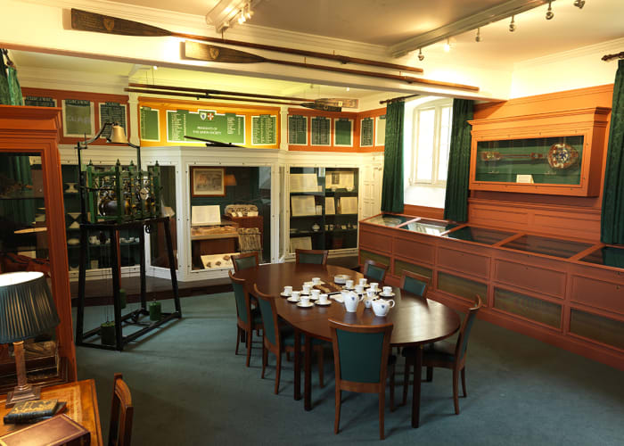 The Museum, an unusual meeting room, filled with memorabilia linked to the history of Emmanuel College.