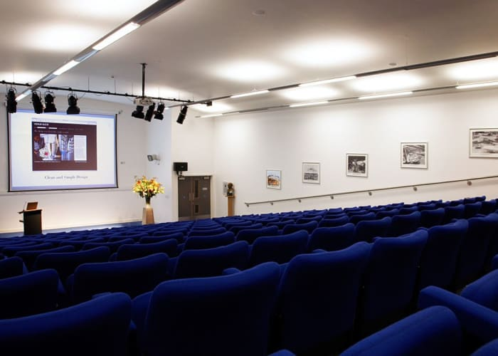 This state-of-the-art, contemporary tiered auditorium with seating up to 200 delegates. It boasts a large screen, high-quality audio, a built-in high specification PA system and adjustable lighting. A dedicated support booth is available at the rear for a dedicated technician if required. This is an ideal room for key note presentations, AGM and product launches.