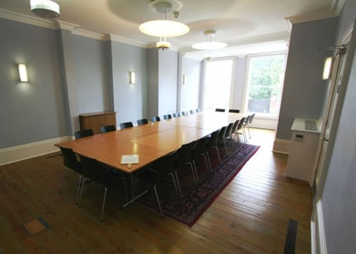 Meeting space has wooden floors, lots of natural light, air conditioning, WiFi & AV facilities, hearing loops and full disabled access. This room can seat up to 22 in boardroom style.