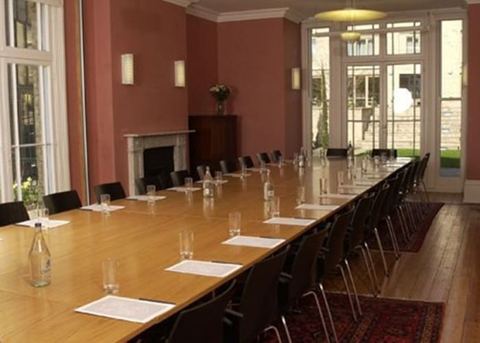 Meeting space has wooden floors, lots of natural light, air conditioning, WiFi & AV facilities, hearing loops and full disabled access. This room can seat up to 34 in boardroom style.
