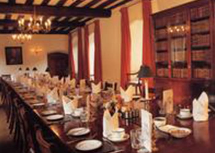 Once part of the library, its beamed ceiling, book cases and mahogany table provide both elegance and style for dinners of up to 34 guests, buffets and receptions for 50 guests. It is also suitable for formal board meetings and round table seminars.  Boardroom style meetings can also be held in this room for up to 34.
