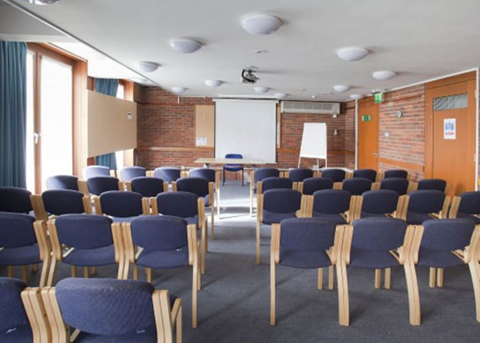 Adjacent to the Auditorium; convenient for registration, breakout, conference help desk, or poster sessions; also suitable for small meetings.