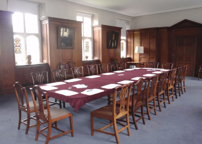 The Old Library is no longer lined with bookshelves, but the wooden panelling and stained glass windows retain a historic feel. It now provides an intimate environment for meetings, receptions and dinners, in the heart of the College, with views over Chapel Court. The Old Library is accessed via the Mong Building.