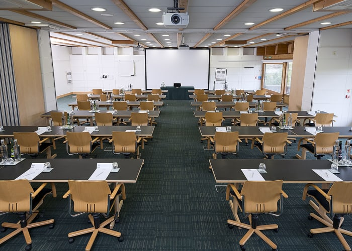 Situated in the Study Centre, this suite consists of Study Centre 3 and 4. The room is light and airy, features views across Churchill College's grounds and has sliding external doors that open out onto a patio area.