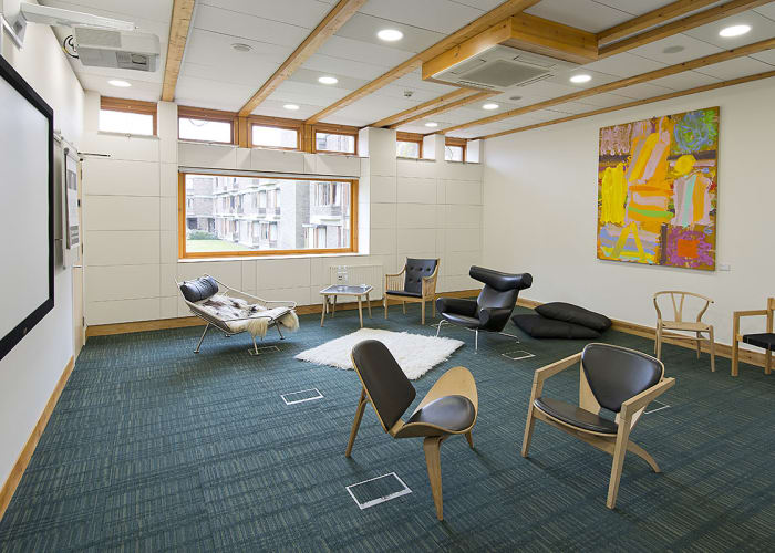 Situated within the Study Centre, this quiet room overlooks one of Churchill College's quads and features inspirational leadership collection of books of leadership.