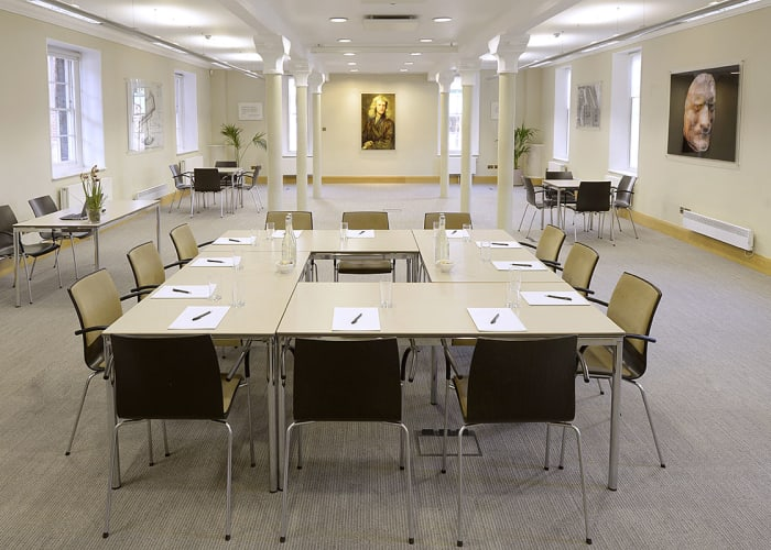 Located on the ground floor this is an ideal room for training sessions, boardroom meetings, evening receptions and presentations. Fully equipped with climate control, natural light, built-in high specification audio-visual equipment, induction loops, wheelchair access and WiFi internet access. This is a very popular room.