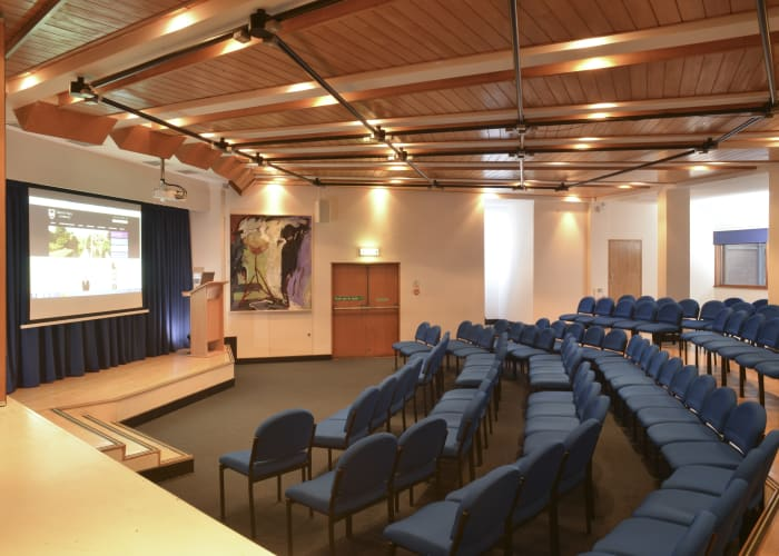 The Lecture Theatre and adjacent Terrace Room are more modern spaces within Trinity Hall. The Lecture Theatre seats up to 100 delegates and is fully equipped with an integrated PA and AV system.