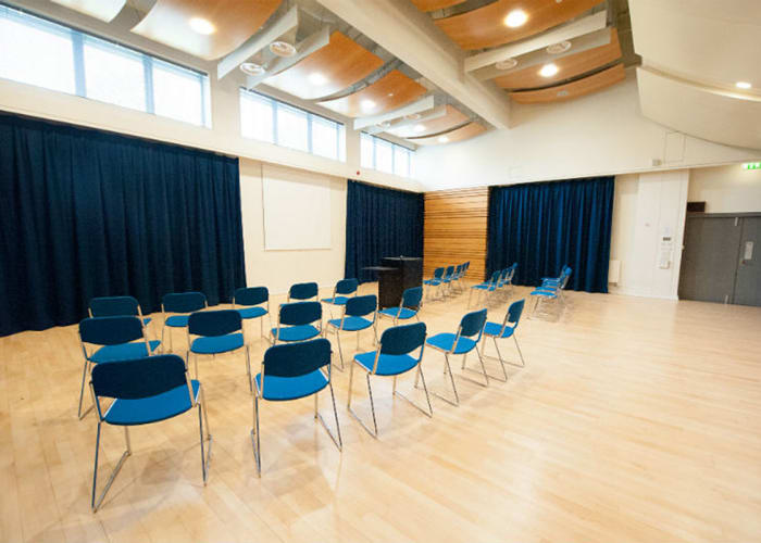 The Recital Room provides a large and versatile space suitable for many uses. Its flat wooden floor and flexibly curtained walls make it ideal for seminars or lectures for up to 100 people, or as an additional exhibition or catering space.