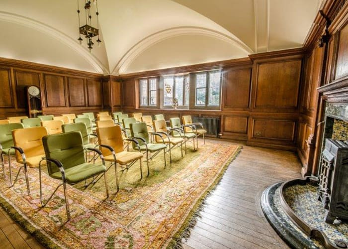 An exquisite paneled and vaulted room, originally used as a rather grand staff meeting room when the college was first built. This room is specifically designed for conferences or meetings in a theatre layout with writing tablets for each chair.