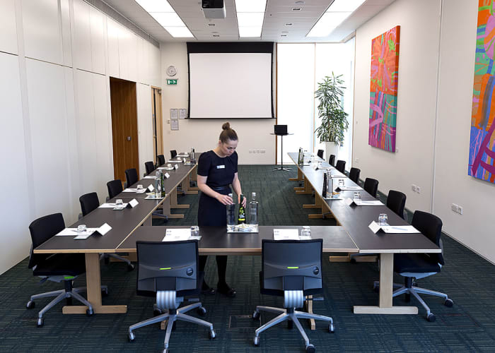 Situated in the Study Centre, this suite consists of Study Centre 12 and 13 and is ideal for private dining and easy access to the Study Centre patio.