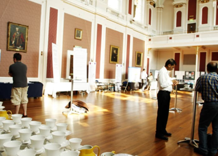 The beautiful Small Hall of the Guildhall has a large source of natural light and is the ideal space in which to host exhibitions. The 144 square metres of floor space can easily hold up to 200 delegates or accommodate 15 exhibition stands. It can be used as an annex to the Large Hall or in its own right for smaller functions. The Large and Small Halls are adjacent and have linking doors to allow for the spaces to be used in conjunction with each other.