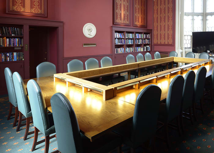 Aruguably one of the most stunning meeting rooms in Cambridge, this handsome room combines dramatic gothic features with the latest audio-visual and video-conferencing equipment. There is also WiFi access.The room lends itself to formal occasions and is a unique space for that special occasion.