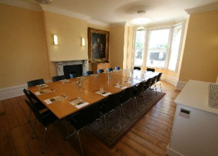 Meeting space has wooden floors, lots of natural light, air conditioning, WiFi & AV facilities, hearing loops and full disabled access. This room can seat up to 18 in boardroom style.