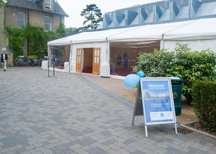 The foyer area at West Road Concert Hall can be extended by the use of a marquee to provide additional space for exhibitions and catering. Clients may source their own supplier subject to approval by the venue.