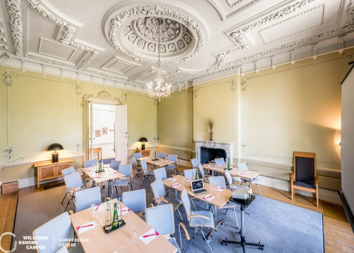 Situated in the Hall, this resplendent room with green Rococo motifs provides a calm and relaxing atmosphere for board meetings, private meetings and training sessions.  Natural daylight, natural air ventilation, and air conditioning.