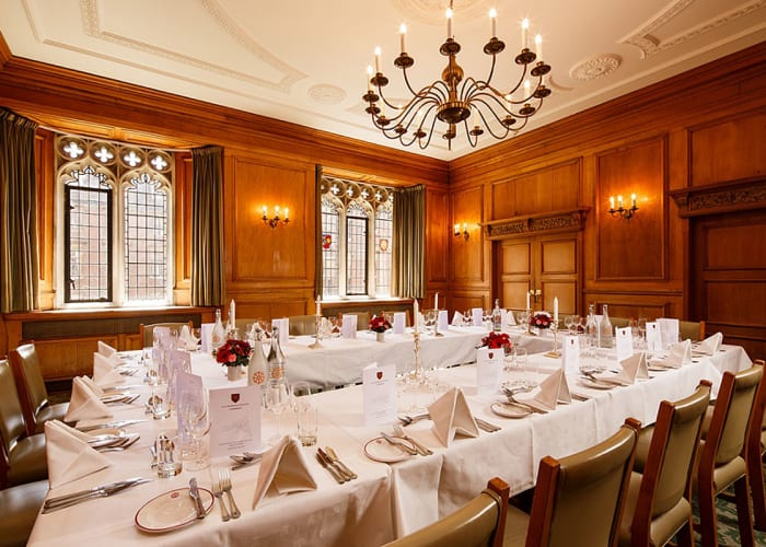 Located just above the Hall and with a view directly over the College's Main Court, the Old Combination Room provides an intimate setting for smaller luncheons, dinners or receptions. It can also be used as a meeting room for up to 35 guests and can be set up with portable projector and screen.