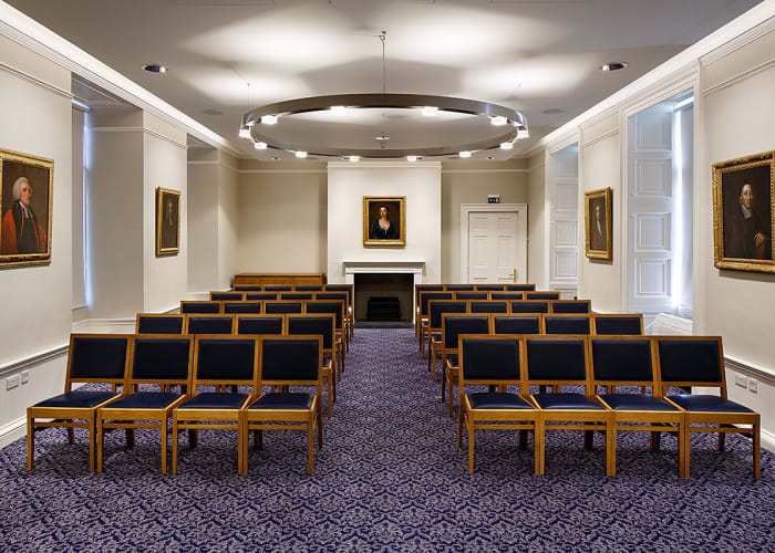 The Ramsden Room is a stunning venue for meetings and receptions, overlooking the main court. The room can accommodate various layouts from 20 in boardroom to 40 in theatre style and has full audiovisual functionality.