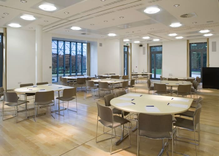 The Cavonius Centre has internal partition walls which allow it to be divided into four separate spaces. This provides one large room accommodating, for example, up to 35 people in a cabaret style with two small rooms seating 8 people and one further room seating up to 14 people.