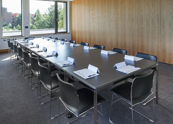 To enable breakout sessions in conjunction with use of the main Plenary Room, three syndicate rooms are available on the first floor. Individual breakout rooms offer seating for 18 cabaret style, 16 classroom style or u-shape or 18 boardroom style.  Each room has moveable sound proof partitions enabling a number of configurations and if required all three rooms can be available as one large space which can be set for cabaret (60 delegates), classroom (72 delegates), u-shape (38 delegates) or a hollow square for up to 44 delegates.  Each syndicate room is fitted with very high specification audio visual equipment including a high definition solid state projection and audio system, incorporating hearing assistance. The audio visual in each room may be joined to create larger contiguous spaces as required.  The rooms can display local content or take a feed from the Plenary Room.  Two wireless microphones provide voice re-enforcement for when the rooms are joined.