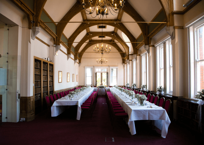 A beautifully unique room hosting our Fairfax Rhodes book collection and located just off the Keynes Library. The room is located on the first floor and is fitted with a large table which can be used in multiple configurations for up to 60.