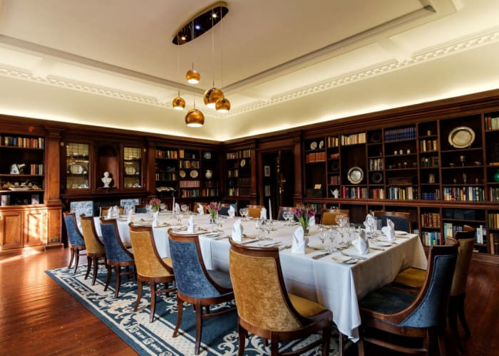 Formerly the private library of the Principal, the Assembly Room is perfect for drinks receptions and smaller dining groups up to 24 guests