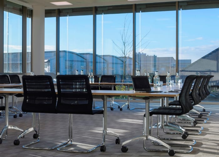 A mid-sized and very popular room just off the breakout space, this room offers the lightest flexible space with floor to ceiling windows overlooking the cricket pitch and has all the best technology on offer