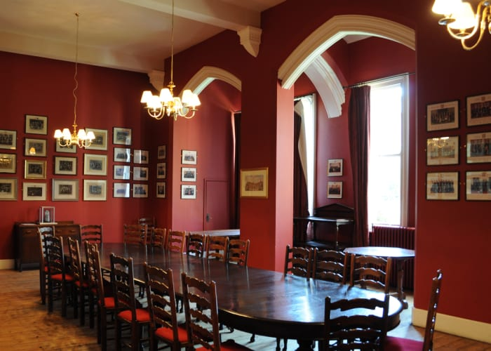 The Dining Room at the Cambridge Union Society, set boardroom style, suitable for small meetings and private dining.