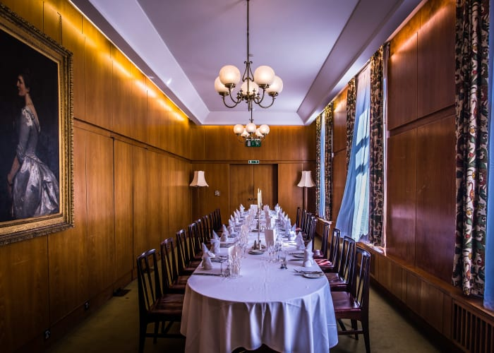 The oak-panelled formal room suitable for smaller meetings or private dinners of up to 22 guests.