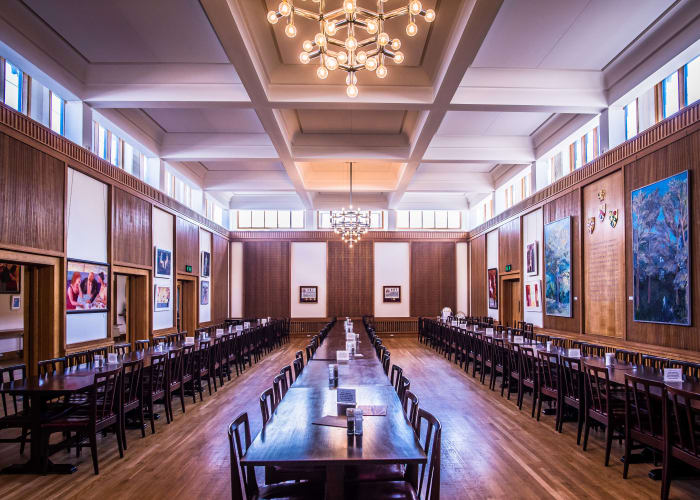 A large, flexible dining space at the heart of the College, seating up to 150 guests. The adjoining Gallery offers a social space alongside the Dining Hall for receptions.
