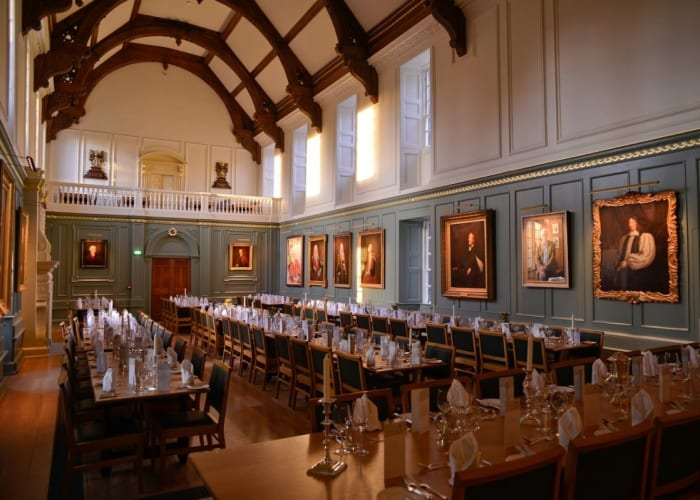 Trinity Hall's medieval dining hall offers an exceptional setting for large dinners for up to 150 guests, drinks receptions, networking events and weddings.