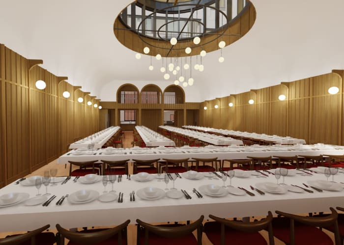 St Catharine's Dining Hall is one of the largest of the Cambridge Colleges, making it the ideal venue for high-quality dining and receptions on a grand scale. The College has embarked on an exciting building project to transform the current College Hall so that it better meets the functional needs of guests and serves as a more fitting and memorable place for dining. The works are due to be completed in May 2022, an artist impression is attached for reference. We look forward to being able to share progress updates with you.