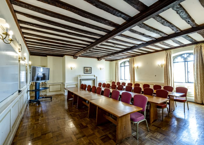 Situated in the ancient Pump Court this room is a very traditional College room on the 1st floor, accessed by a winding staircase. This beautiful room can seat up to 30 delegates.