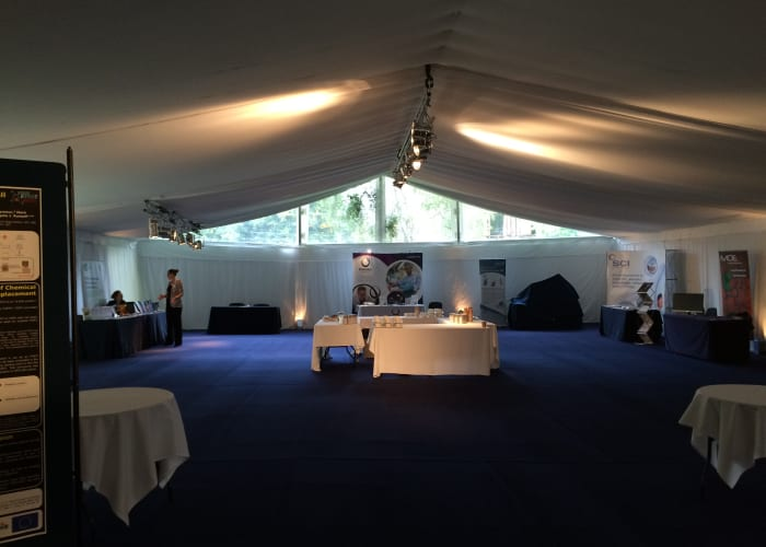 Churchill College is pleased to be able to offer a marquee site within the grounds. The College can recommend marquee suppliers for events from 200 to 400 delegates or client's can use their own marquee suppliers subject to the College's approval. Marquees are used frequently at the College for exhibition and poster board sessions, refreshment areas, large plenary spaces and social events.