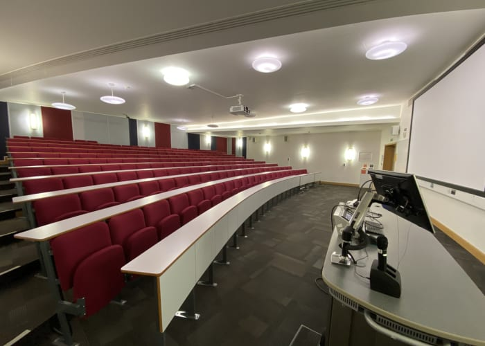 LAB 003 is a 200 seat lecture theatre located on the ground floor of the Lord Ashcroft Building