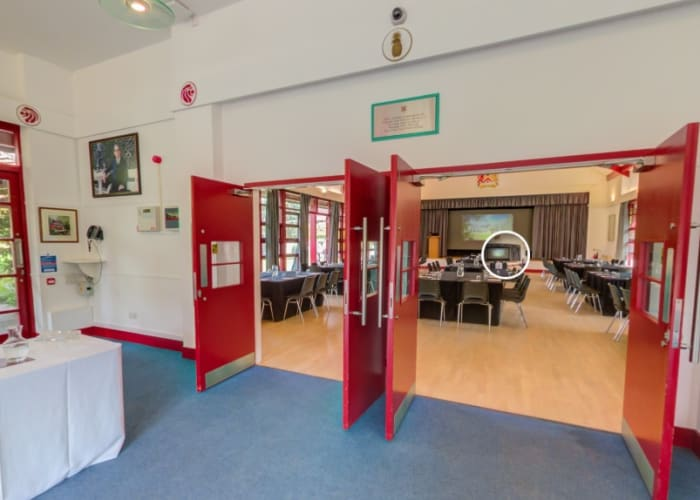 The foyer at Lee Hall, with double doors into the hall, it is a great space for registrations and networking.