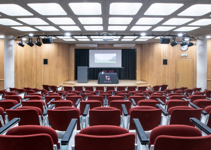Wheelchair accessible, ground floor, tiered auditorium for up to 150 people.