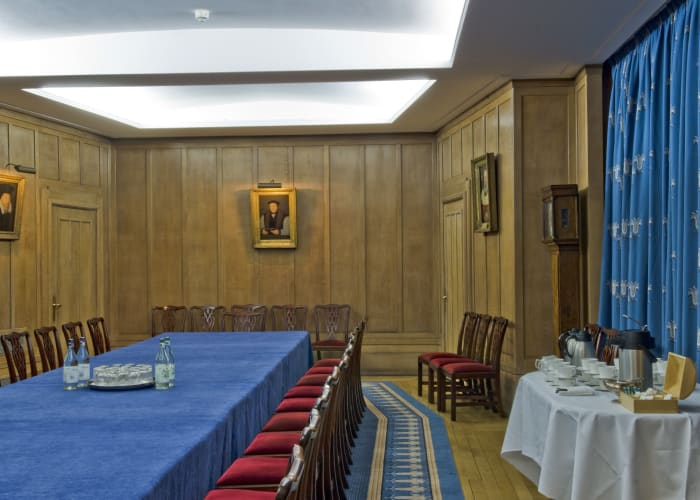 The New Combination Room (NCR) is a beautiful, wood panelled function room ideal for meetings for up to 38, boardroom style. With two windows offering good natural light and views over Kwee Court, the NCR is located on the first floor close to the College Dining Hall.