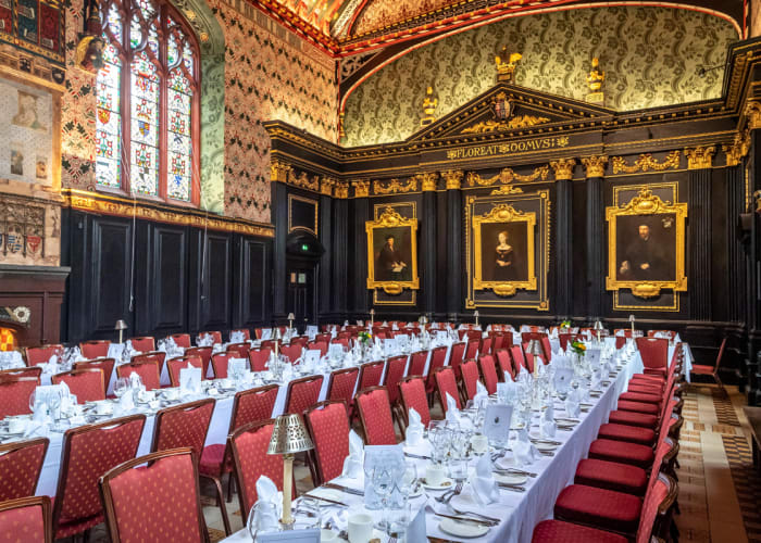 The original dining hall, used by Fellows and students for over 500 years, is part of Old Court which reflects the plan of manor court houses of the 15th Century.   The interior is richly decorated and above the Tudor fireplace are tiles attributed to William Morris and his associates. Together with a minstrels' gallery provides an historical atmosphere for luncheons and formal dinners for up to 114 guests or receptions for 150.
